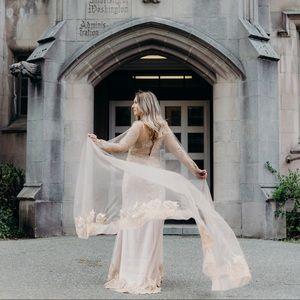 Ball gown long beige Dress